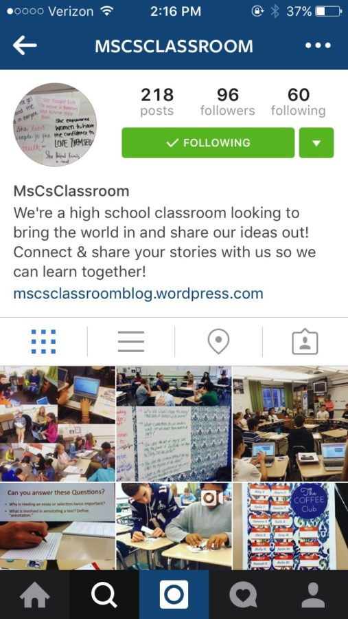 Photo taken September 27th of HHS teacher Brianna Crowley's classroom Instagram which she created for the 2015-16. school year in hopes of communicating with other educators, as well as her students and their parents. Along with Instagram Crowley uses Twitter and Facebook in her classroom school in hopes of communicating with other educators, as well as her students and their parents. (Online photo from Mrs. Crowley's Instagram : @MSCSCLASSROOM)