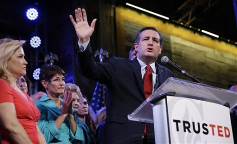 Republican presidential candidate, Sen. Ted Cruz, R-Texas, waves as he speaks during an election night watch party Tuesday, March 1, 2016, in Stafford, Texas. (AP Photo/David J. Phillip)