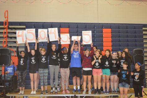 HHS miniThon members hold up the total amount of money raised. Hershey High raised $45,045.45 this year, $7,000 more than in 2015.