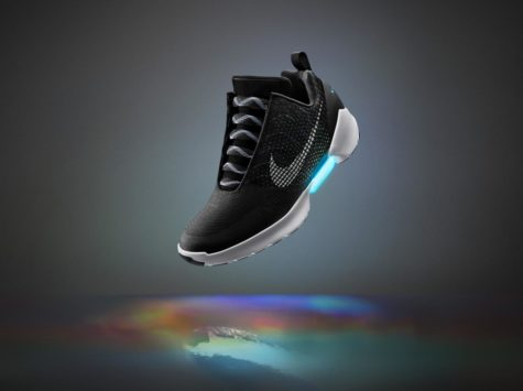 The Nike Hyperadapt 1.0 is shown here in a graphic released by Nike on March 16th, 2016. The shoes will be available in three colors: black, gray, and white. (The Independent)