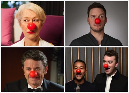 (From top left to bottom right) Actress Helen Mirren, actor Chris Pratt, actor John Michael Higgins, singer John Legend, and singer Sam Smith promote Red Nose Day with their red noses. (Photo Courtesy/Red Nose Day)