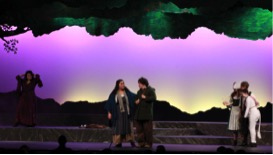 Cast members of the HHS spring musical perform on stage. The entire cast of Into the Woods was nominated for Outstanding Musical.  (Broadcaster/ Zozan Kucukaydin)