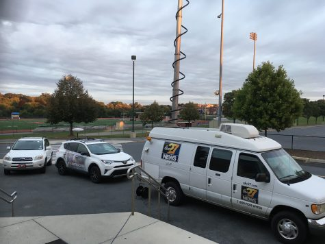 """ABC27 news vans line up outside of Hershey High School this morning in preparation for the """"Friday Morning Lights"""" pep rally."""
