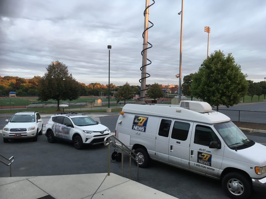 "ABC27 news vans line up outside of Hershey High School this morning in preparation for the ""Friday Morning Lights"" pep rally."