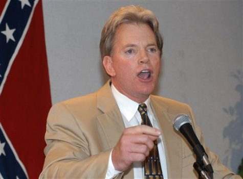 In this May 29, 2004 file photo, Former Ku Klux Klan leader David Duke speaks to supporters in Kenner, La. Duke says he may run for Congress against the No. 3 House Republican, Steve Scalise of Louisiana. Scalise recently apologized for a speech he gave in 2002 to a white supremacist group founded by Duke. (AP Photo/Burt Steel, File)
