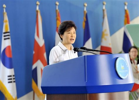 South Korean President Park Guen-hye delivers a speech during a ceremony of the 60th anniversary of the armistice agreement and UN forces' participation in the Korean War, at the War Memorial of Korea in Seoul Saturday, July 27, 2013. In South Korea, the anniversary was marked with a speech by President Park, an exhibit on the war's history and a planned anti-North Korea rally. Park vowed in prepared remarks not to tolerate provocations from North Korea, but she also said Seoul would work on building trust with the North. (AP Photo/ Jung Yeon-je, Pool)