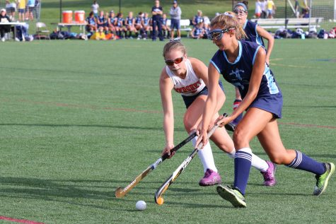 Freshman Maddie Zimmer chases after the ball on Friday's field hockey game against Dallastown. Zimmer later assisted in the only goal of the game. (Broadcaster/ Marisa Balanda)