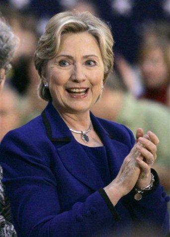 Democratic presidential hopeful, Sen. Hillary Rodham Clinton, D-N.Y., speaks during a campaign event at North Scott Junior High School in Eldridge, Iowa, Saturday, Dec. 29, 2007. (AP Photo/Chris Carlson)