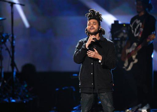 The Weeknd performs at the 42nd annual American Music Awards at Nokia Theatre L.A. Live on Sunday, November 23, 2014, in Los Angeles. (Photo by Matt Sayles/Invision/AP)
