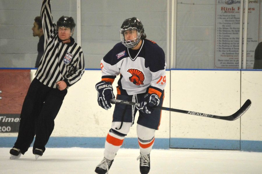 Sabatino Iannarello, HHS Junior, scored three goals against Cedar Crest. The game on Friday December 2, 2016 was dedicated to Iannarello's father, Charlie, who recently passed away. (Broadcaster/Anna Levin)
