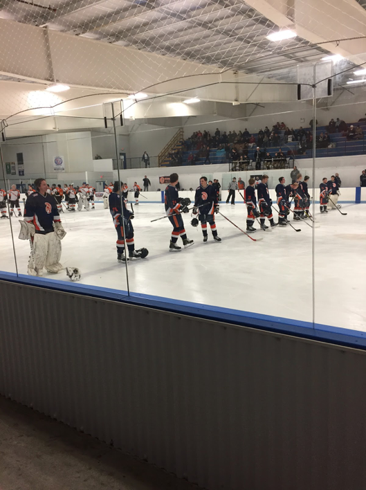 The Trojans stand on the line during the National Anthem before puck drop. The Trojans went  on to lose to the Cougars 4-2 on Friday February 24, 2017 at Klick Lewis Arena. (Broadcaster/Kieran Holley)