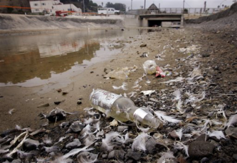 Debris and standing water collect at the outflow of the creek that drains into the ocean from Santa Monica Canyon, at Will Rogers State Beach in Los Angeles Thursday, Sept. 14, 2006. Seven years ago, a federal consent decree set in motion a process to clean up some of the nation's most popular beaches rimming Santa Monica Bay, waters polluted with a brew of contaminants from animal droppings to fertilizer. The 13 cities that surround the bay were given until July to do something about the pollution or pay big daily fines. However, the deadline has passed and many of the beaches still aren't clean, prompting the Los Angeles Regional Water Quality Board to consider ways to make enforcement easier. (AP Photo/Reed Saxon)