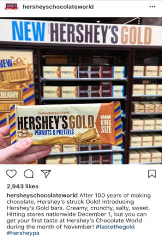 """Hershey's Chocolate World's Instagram shared a photo of  """"Hershey's Gold,"""" now available before it hits the shelves in any other store. In November, Hershey's Chocolate World opens at 9AM and closes at various times. (Hershey's Chocolate World Instagram)"""