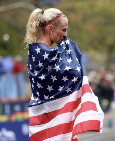 """After being away from competition since the 2016 Olympics, Flanagan's emotions are high as she celebrates her return and victory for the United States. Flanagan shared this passionate post on Instagram with the caption, """"A lifetime of work for this moment. It was worth it. Be relentless."""" (Credit to Shalane Flanagan/Instagram)"""