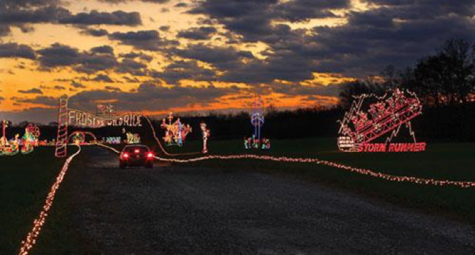 The Frost vs Wild Ride Hershey sweet lights trail, on the left is a display of the Hersheypark ride Storm Runner. (Hersheypark website)
