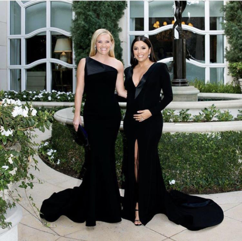 "#WhyWeWearBlack was a common hashtag used by celebrities to share their messages regarding sexual misconduct. Reese Witherspoon posted alongside Eva Longoria with the caption, ""Honored to stand with this woman and women everywhere tonight for equality, parity, safety and inclusion. #WhyWeWearBlack @timesupnow #GoldenGlobes"" (Credit to Witherspoon via Instagram)."
