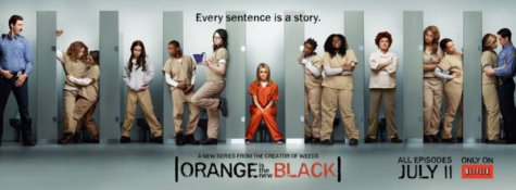 Piper Chapman (center), main character, amongst her other jailmates pictured on the poster for season five of the show. Orange is the New Black has a staggering 91% rating on Rotten Tomatoes, one of the highest for a Netflix show. (Netflix)