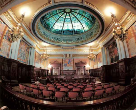 Pennsylvania Commonwealth Supreme Court room is pictured. The PA Supreme court voted 4-3 to strike down PA's congressional map due to gerrymandering. (Penn State/CC BY-NC 2.0)