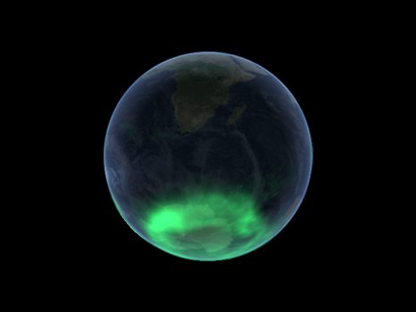 A view of the aurora australis as taken by the Imager for Magnetopause-to-Aurora Global Exploration (IMAGE) spacecraft on Jan. 7. This photo was taken by the IMAGE satellite in 2005, after which it was lost for 12 years before being found again in early 2018. (NASA)