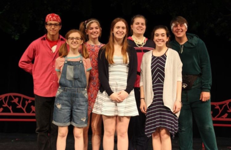 "Taylor, front left, dressed as her character Lucy, poses with the rest of the Jigsaw Puddle cast. Tickets for ""Jigsaw Puddle"" cost five dollars for students and eight dollars for adults. (Tori Moss/Broadcaster)"