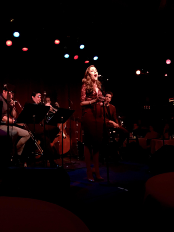 Laura Osnes, also known as Julia Trojan, sings her heart out with the other members of The Donny Nova Band on stage at Birdland Jazz Club on March 11, 2018. The show opened on April 26, 2017, and closed on September 17, 2017, since, being performed at Birdland Jazz Club in New York City multiple times. (The Broadcaster/Tori Moss)