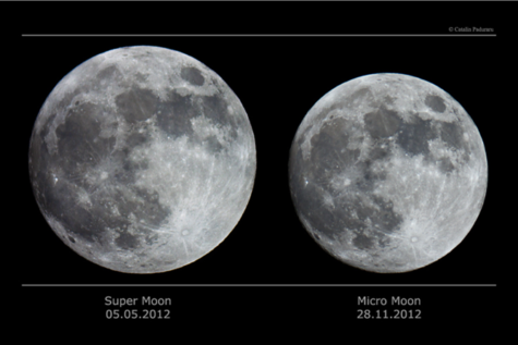 The May 5, 2012 supermoon, right, appears much large than the November 28, 2012 micromoon, left. A supermoon occurs when the moon is at perigee, the spot where the moon is closest to Earth in its' orbit. (NASA/Catalin Paduraru)
