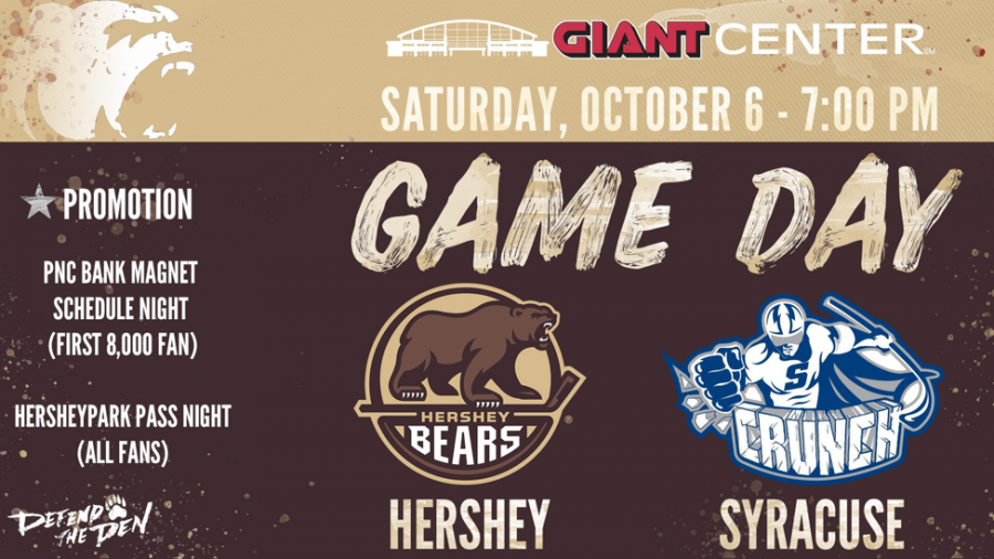 On October 6 the Hershey Bears opened their season against Syracuse Crunch. The Bears take the Giant Center ice again Friday, October 27. (Hershey Bears)