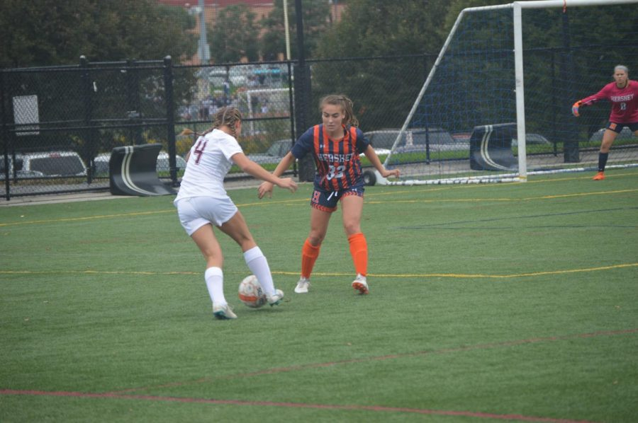 Hershey sophomore Sofia Speece defends her goal against the Wildcats. Hershey lost the game 2-0. (Broadcaster/Sam Allery)