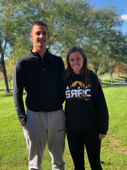 Suminski and Cocco pose together outside of HHS. They are the first students to be chosen as Students of the Month for the 2018-2019 school year. (Broadcaster/Claire Sheppard)