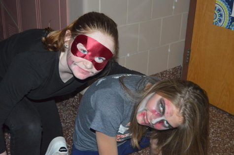 HHS sophomore Lola Berra (Left) and junior Olivia Falcucci (Right) dressed up for the haunted hallway. The haunted hallway had different levels of 'scariness' for different groups of people. (Broadcaster/Natalie Taylor)