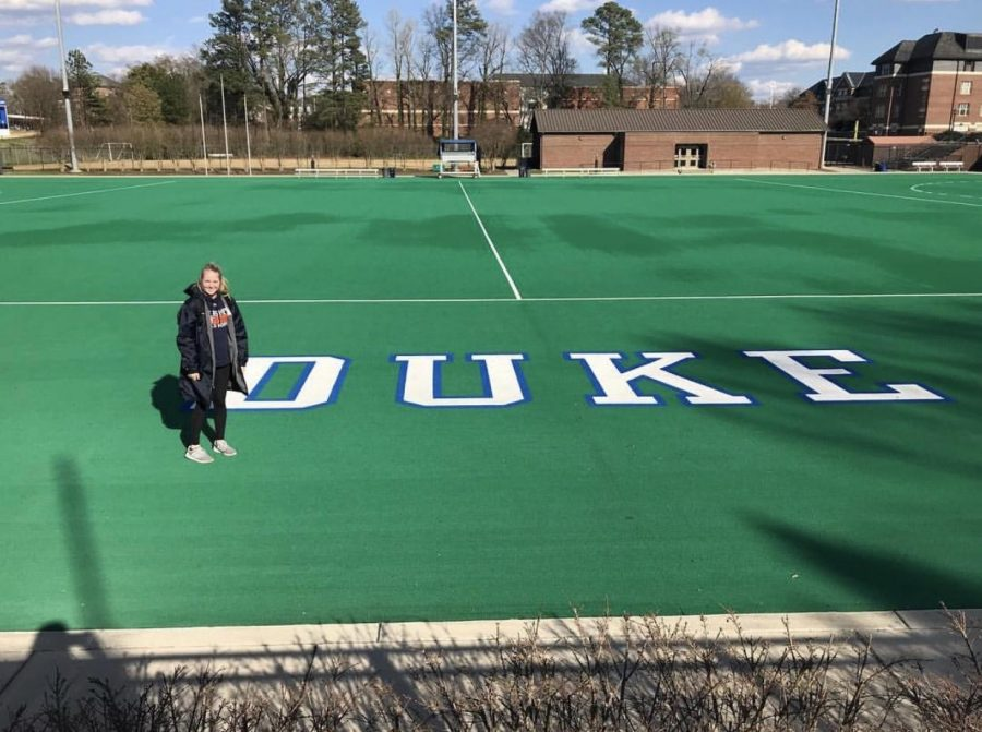 "Shealyn Tatara is standing on the Duke University field hockey field on April 23, 2018. Tatara said, ""I am beyond thankful to announce my verbal commitment to Duke University."" (Submitted/Shea Tatara)"