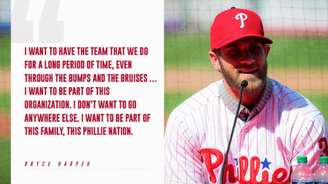 Bryce Harper declares that he is happy to be a Phillie and wants to be there for a long time. Harper just signed the largest contract in baseball history with the Phillies. (Via/Phillies Twitter)
