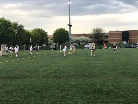 The Hershey girls' lacrosse team warms up for the game against Mechanicsburg on April 23, 2019. They won the game 18-0. (Broadcaster/Eva Baker)