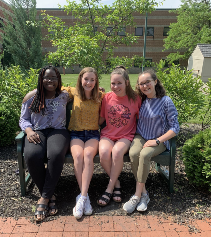 From left to right, Mofi Oladipo, Maggie Lawall, Mallory Gillespie, and Irena Potochny pose for the camera on May 23rd, 2019. Oladipo was elected as President, Lawall for Vice President, Gillespie for Secretary, and Potochny for Treasurer for the Sophomore Student Council Officers. (Broadcaster/Karen Liu)