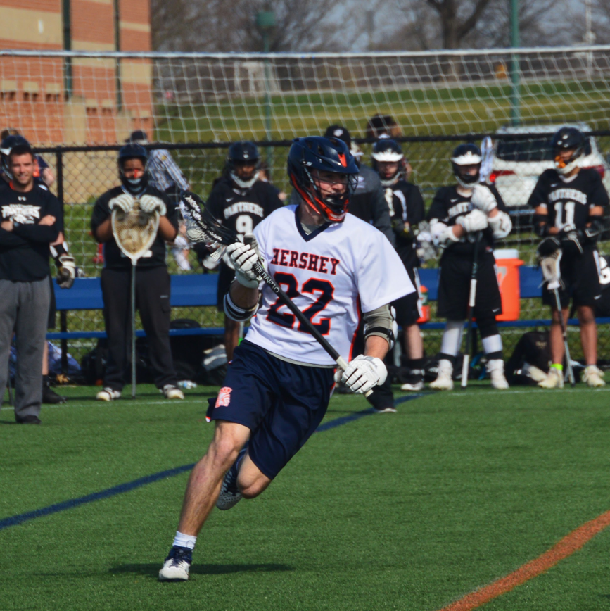 Captain Mark Sickler runs with the ball at a game against Central Dauphin. Sickler is committed to West Point to play Division I lacrosse. (Broadcaster/Emma Quillen)
