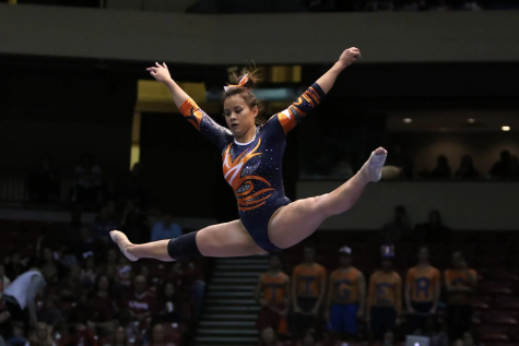 Auburn gymnast, Samantha Cerio, is competing at the NCAA Regionals gymnastics meet on April 8th, 2018. Cerio suffered a horrific injuries to both legs on Friday night. (Michael Wade/Icon Sportswire/AP)