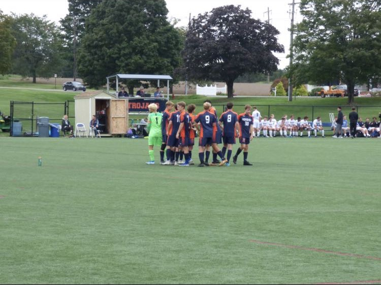 The Trojans congratulate Stalebrink following his goal in the second half. The Trojans next game will be on September 19th against Central York.  (Broadcaster/Caroline Glus)