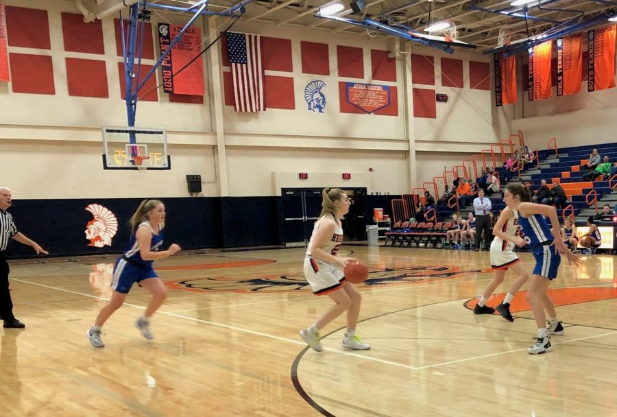 Sophomore Mary Cotter prepares to pass the ball to her teammate in the varsity basketball game against the Lower Dauphin Falcons. The Trojans lost to the Falcons 52-33 on Friday, January 10, 2020. (Broadcaster/Claire Sheppard)