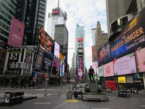 Broadway and Times Square stand nearly empty on April 7, 2020.  Broadway has struggled with the pandemic as New York City became a hotspot for infections of COVID-19.  (Brecht Bug/CC BY-NC-ND 2.0)