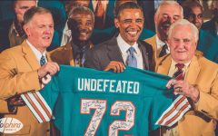 Don Shula's 1972 undefeated Dolphins team visits president Barack Obama at the White House. Shula (pictured in the front right) coached the Dolphins for 26 seasons. (Miami Dolphins)