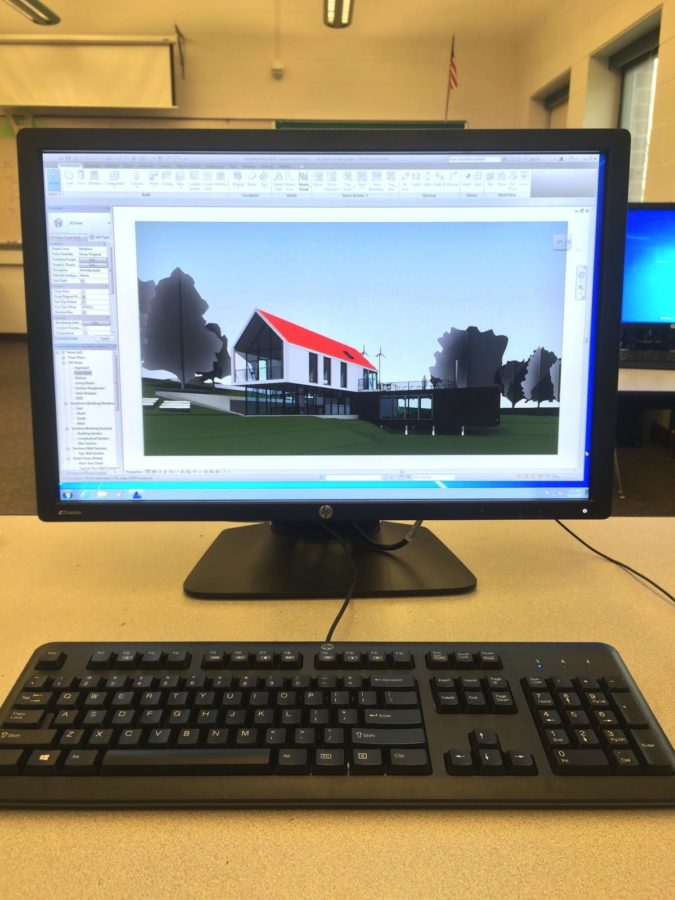 A new computer running Revit, an architectural program, on October 1st 2015. The Engineering department has been teaching students how to use Revit for the past several years.