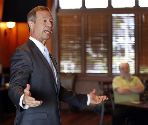 Democratic presidential candidate former Maryland Gov. Martin O'Malley speaks during a campaign stop hosted by the Salem Chamber of Commerce Friday, Sept. 4, 2015, in Salem, N.H. (AP Photo/Jim Cole)