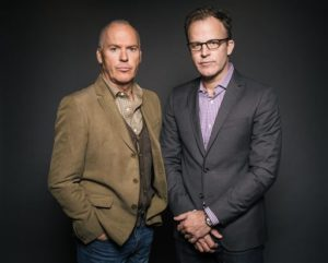"In this Wednesday, Nov. 4, 2015 photo, actor Michael Keaton, left, and writer/director Thomas McCarthy pose for a portrait during press day for ""Spotlight"" at The Four Seasons, in Los Angeles. The movie opens in U.S. theaters on Friday, Nov. 6, 2015. (Photo by Casey Curry/Invision/AP)"