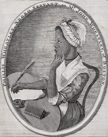 An image of Phillis Wheatley from the frontispiece to her book Poems on Various Subjects.  The illustration was done by Scipio Moorhead in 1773.