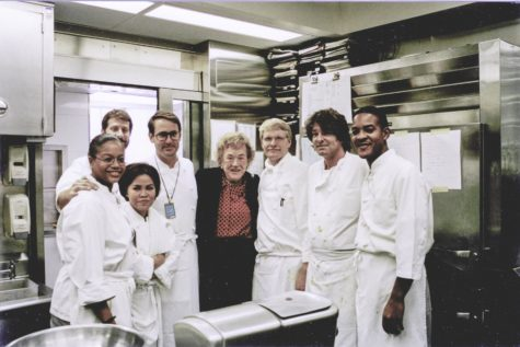 Moeller (third from right) pictured here on October 21, 1999, with other White House chefs and 1960's TV chef, the late Julia Child. Moeller impressed Child with his cooking so much that Child left a note thanking him. (Photo credit: John Moeller)