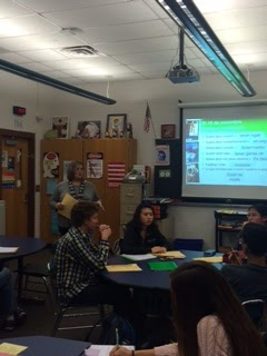 Mrs. Clouser, pictured on the left, teaches a level four Spanish class on Wednesday, November 18, 2015. She uses her high school experiences everyday in her career as a Spanish Professor at Hershey High School.