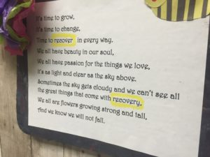On November 2, 2015 at the Briarcrest Adolescent Medicine, An inspirational poem to help those with an eating disorder is posted inside the. A number of quotes were posted inside for others to read and find hope in their difficult situation. Recover and recovery were highlighted to emphasize the importance of getting help.