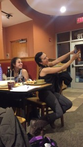 Palutis takes a snapchat with her friend Natalie Giovanniello at Panera Bread in Hummelstown on Wednesday, January 27, 2016. Palutis often puts pictures on her Snapchat story whenever she is out with her friends.