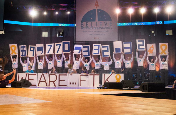 Morale Chairs reveal the Final Review for THON 2016 at 4 pm on February 21st. All of the money goes to the Four Diamonds Fund. Photo Courtesy of Michelle Bixby