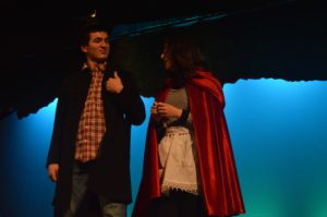 """Little Red Riding Hood, Julia Rippon, and the wolf, Patrick Gavazzi, practice their song """"Hello, Little Girl"""" on February 22, 2016. Gavazzi also plays as Cinderella's Prince. Photo by: Cara McErlean"""